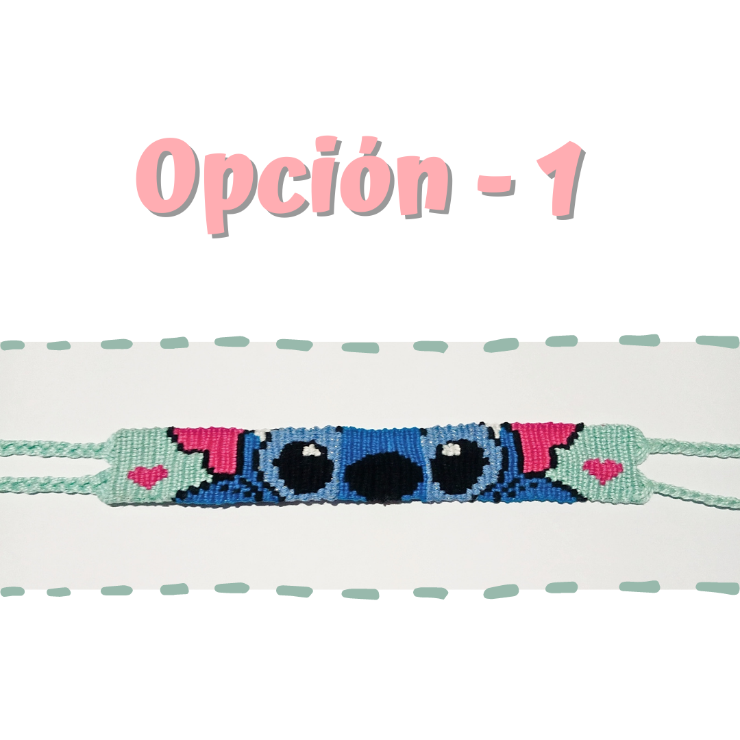 Pulsera macramé inspirada en Stitch
